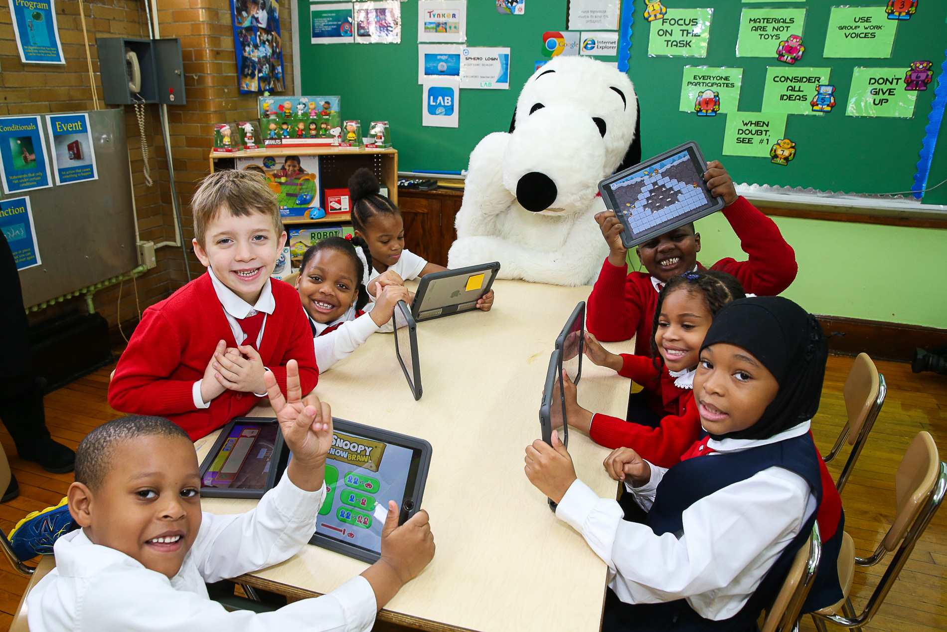 Snoopy Kicks off Hour of Code @ PS 241 in Brooklyn
